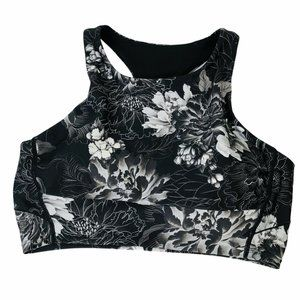 Zella Sports Bra Black Floral Racerback Medium